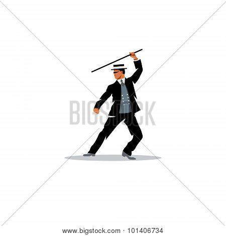 Bartitsu Mixed Martial Arts. A Man With A Cane. Vector Illustration.