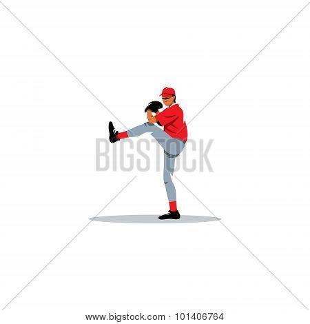 Baseball Pitcher Sign. Vector Illustration.