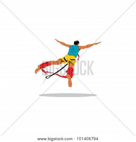 Bungy Jumping Sign. Vector Illustration.