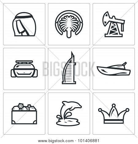 United Arab Emirates Icons Set. Vector Illustration.