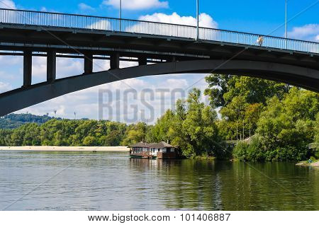 Bridge And The Left Bank Of The Dnieper And A Restaurant