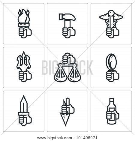 Symbols Of The Gods In Greek Mythology Icons Set. Vector Illustration.