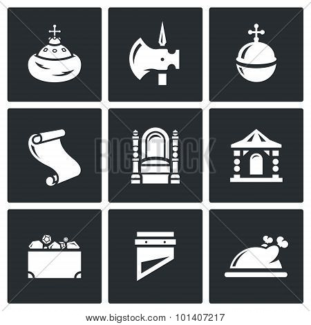 Russian Moscow ancient state and the Principality icons set.  Illustration. Vector Isolated Flat Icons collection on a black background for design