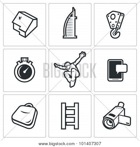 Roofer icons set. Vector Illustration. Vector Isolated Flat Icons collection on a white background for design