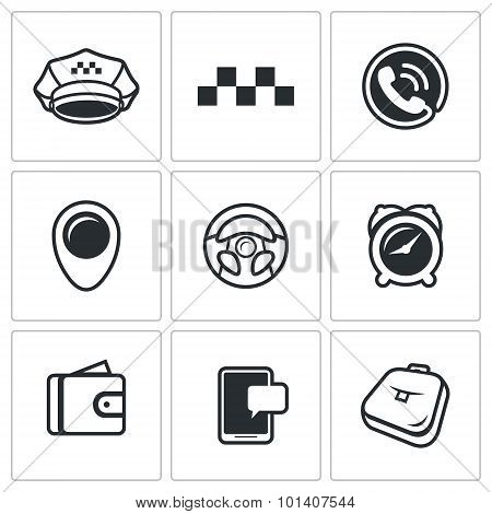 Taxi Service icons set. Vector Illustration. Vector Isolated Flat Icons collection on a white background for design