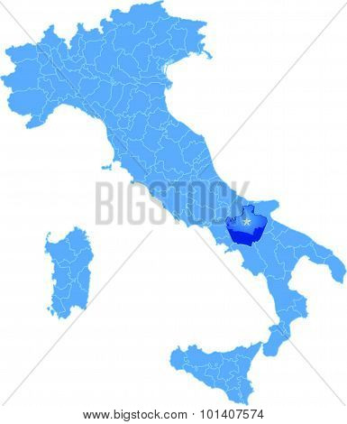 Map Of Italy, Avellino Province