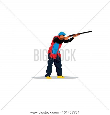 Clay shooting. Vector Illustration. Design template Isolated on a white background