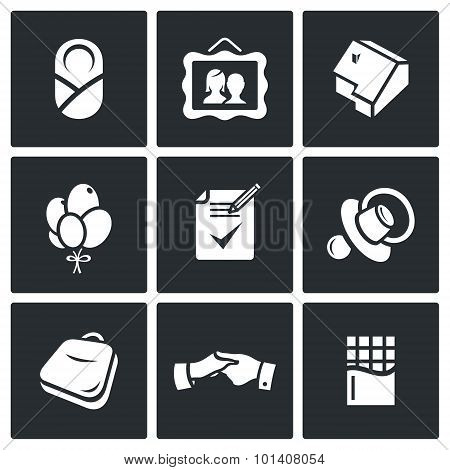 Adoption of a child by adoptive parents icons set. Vector Illustration. Vector Isolated Flat Icons collection on a black background for design