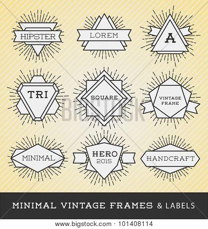 Set Of Vintage Line Frames And Labels With Sunburst.