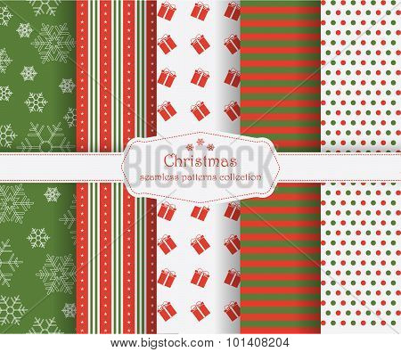 Set Of Winter Holiday Seamless Patterns