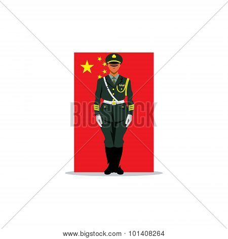 Chinese Guard Sign. Soldier Stands In Front Uniform On Background Of The Flag China. Vector Illustra