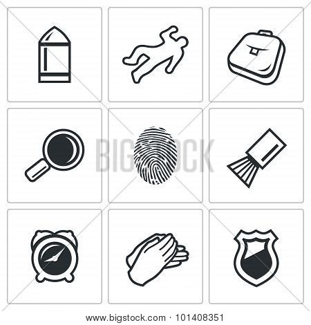 Criminalistics. Search criminal icons set. Vector Illustration. Vector Isolated Flat Icons collection on a white background for design