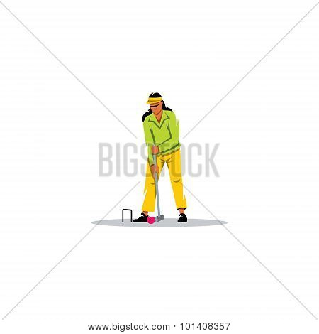 Croquet Game sign. Vector Illustration. Design template Isolated on a white background