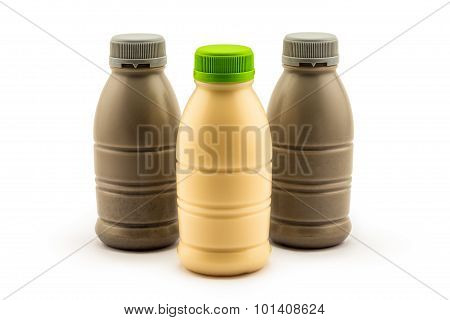 Bottle Of Soy Milk And Soy Milk With Saseme