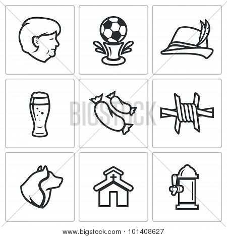 Germany Icons Set. Vector Illustration.