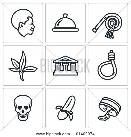 Slavery Icons Set. Vector Illustration.