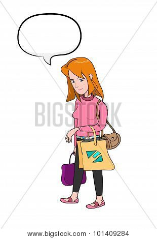 Shopping Woman With Text