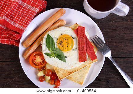 Bullseye Egg On Bread Toast