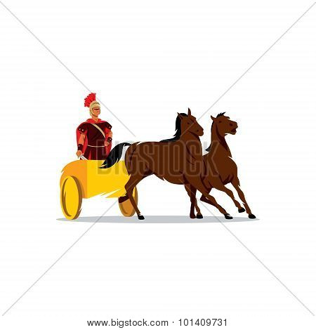 Chariot With A Roman Gladiator Sign. Vector Illustration.