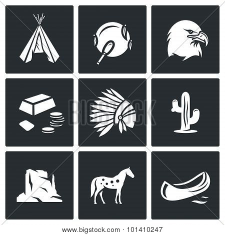 Indians Wild West Icons Set. Vector Illustration.