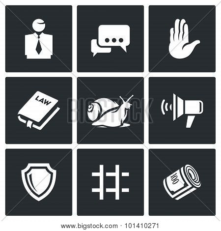 Lawyer And Court Hearing Icons Set. Vector Illustration.