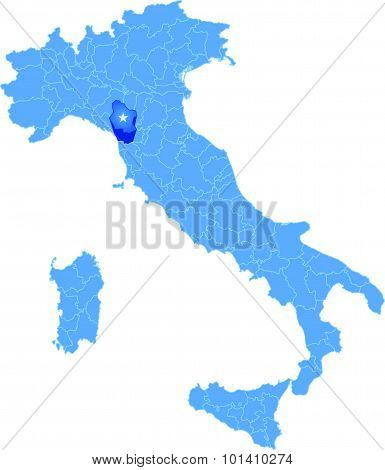 Map Of Italy, Lucca