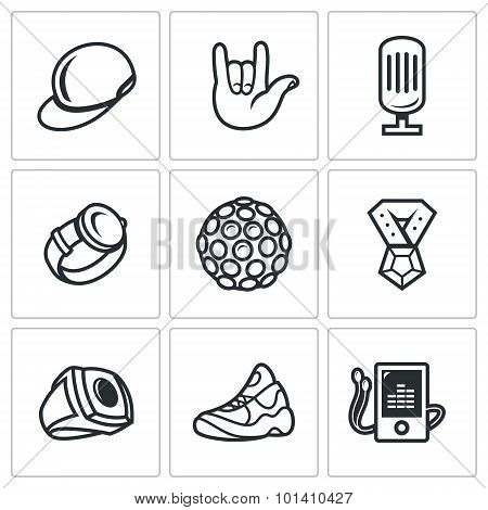 Attributes Rapper Icons Set. Vector Illustration.