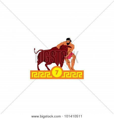 The Seventh Feat Of Heracles. Cretan Bull. Vector Illustration.