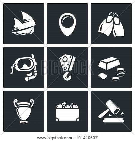Treasure Hunt Icons Set. Vector Illustration.