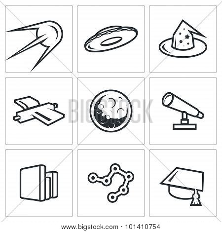 Astronomy, Space, Science Icons Set. Vector Illustration.