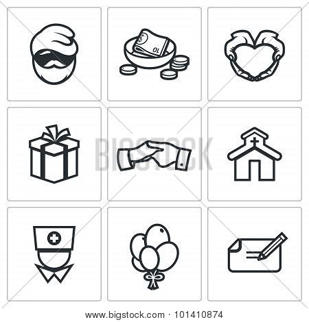 Charity. Help The Homeless And Poor People Icons Set. Vector Illustration.