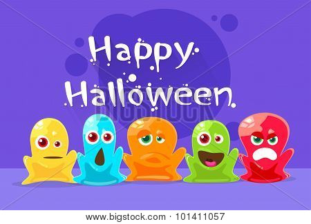 Jelly Monster Alien Colorful Character Set