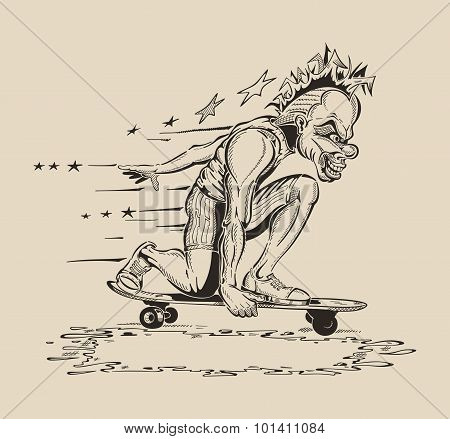 Image of Man in mask of clown to perform tricks on a skateboard.