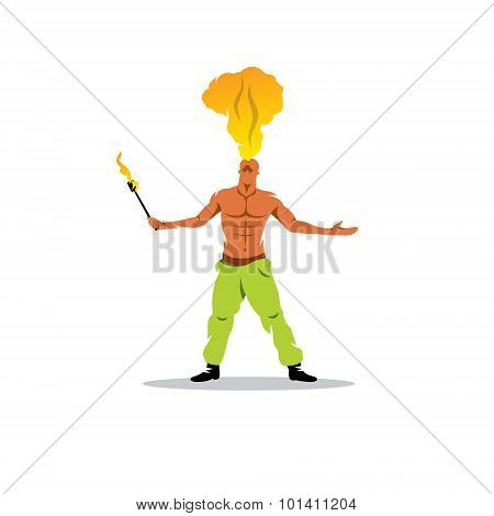 Fakir Show Sign. The Man Spewing Fire Out Of His Mouth. Vector Illustration.