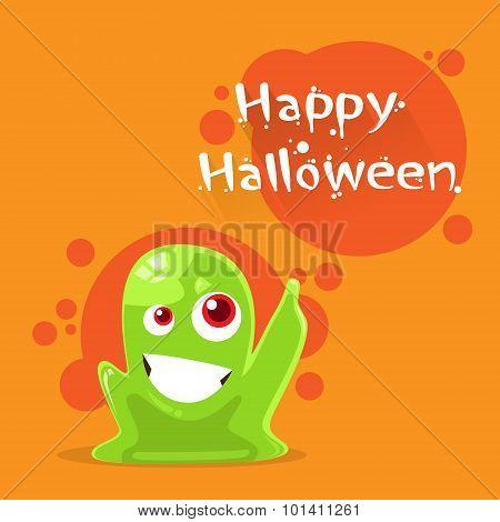 Jelly Monster Green Alien Character Point Finger Up
