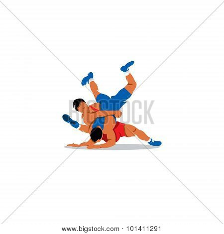 Greco Roman Wrestling Sign. Sports Duel Of Two Fighters. Vector Illustration.