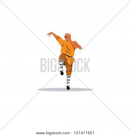 Shaolin Monk Sign. Vector Illustration.