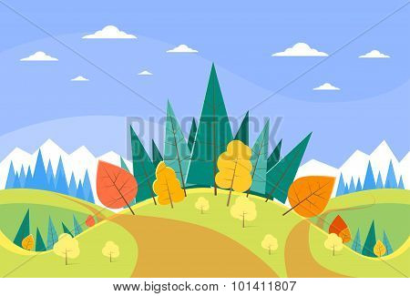 Autumn Landscape Mountain Forest Road Blue Cloud Sky With Sun Tree Woods