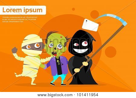 Halloween Selfie Photo Stick Smart Phone Cartoon Grim Reaper Smile With Zombie Mummy