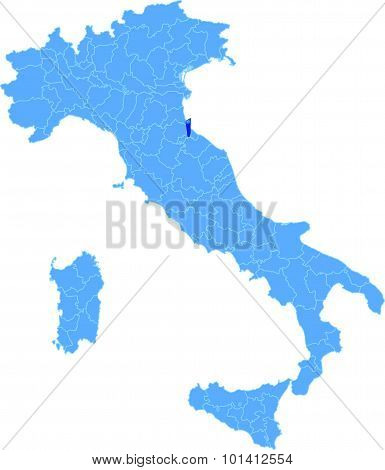 Map Of Italy, San Marino