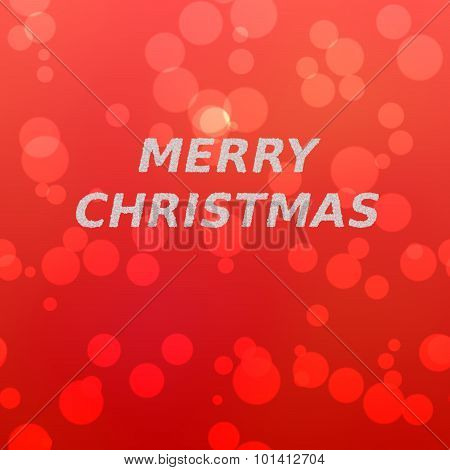 Merry christmas inscription of snowflakes on red bokeh background.