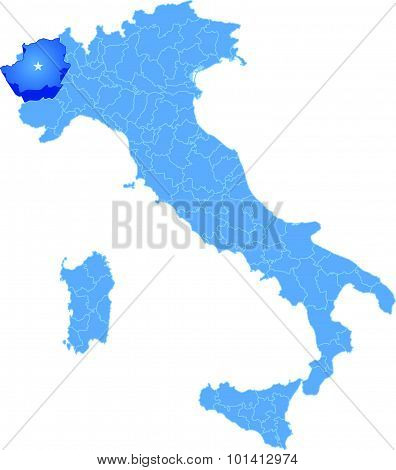 Map Of Italy, Torino