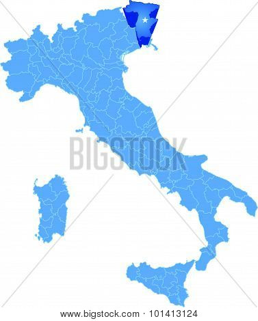 Map Of Italy, Udine