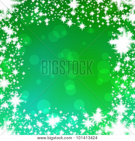 Bokeh green background with snowflakes border
