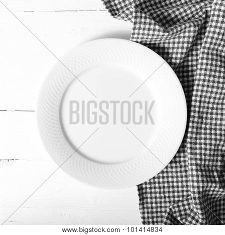 Empty Dish With Kitchen Towel Black And White Tone Color Style