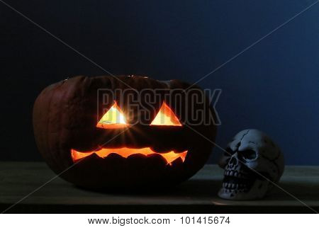 Halloween Pumpkins And Scull