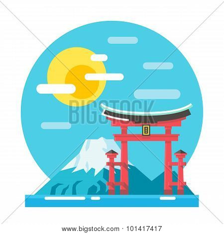 Torii Shrine Flat Design Landmark