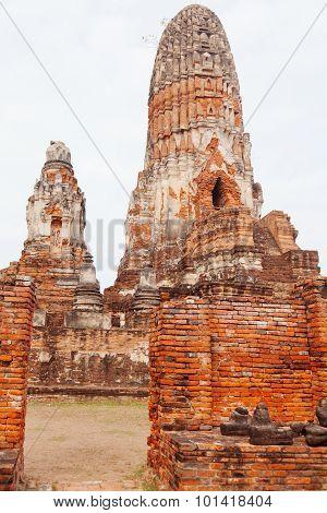 Close up of Wat Chaiwattanaram ruins Ayuthaya Thailand