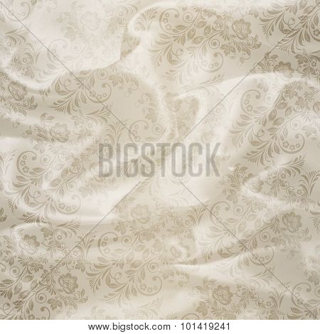 White Floral Satin Background.