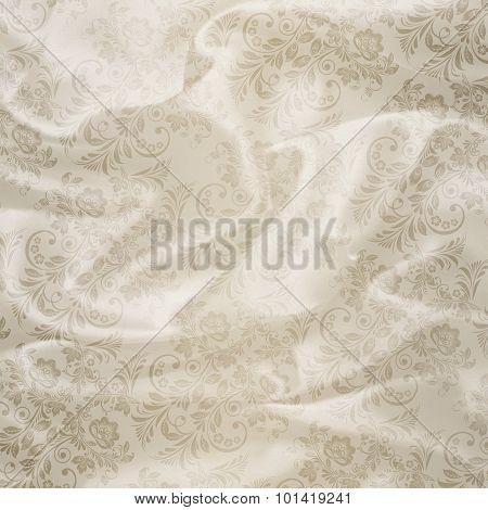 White Floral Satin Background.